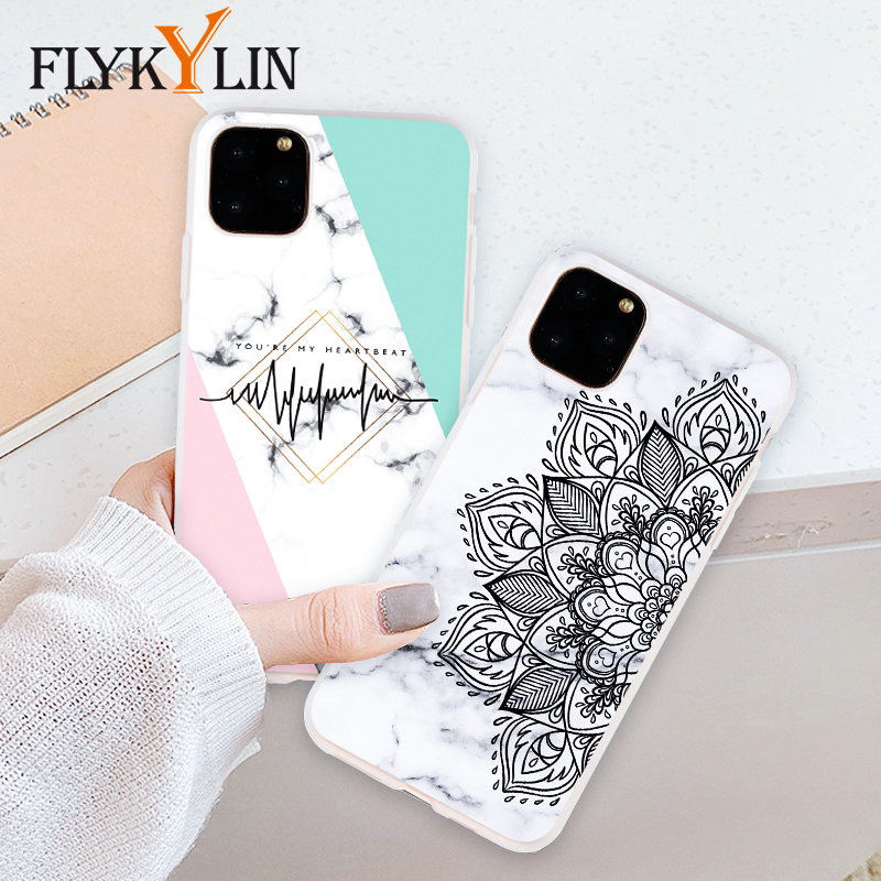 FLYKYLIN Case For iphone 11 Pro Max Back Cover For iphone 5S 5 SE 6 S 6S 7 8 Plus X XS XR Flower Marble TPU Silicone Phone Coque