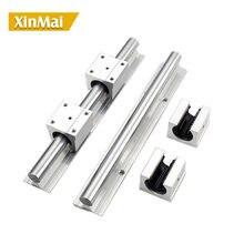 2 pçs sbr16 16mm trilho linear todo o comprimento suporte trilho de guia redondo + 4 peças sbr16uu slide bloco para cnc