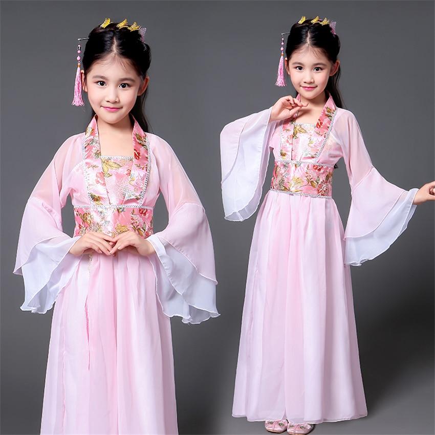 Hanfu-traje tradicional chino antiguo para niñas, vestido de actuación en escenario de baile para mujer, trajes de hadas populares, Tangsuit para niños