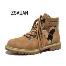 ZSAUAN  Brand Autumn Winter Ankle Boots for Women Wind Students Military 2019 Adult Cross-tied Safety Short Shoes