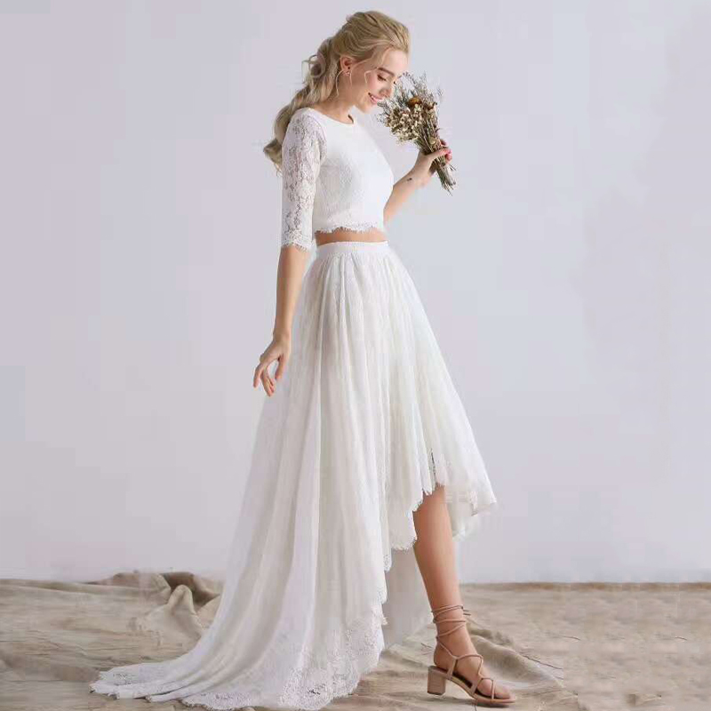 2 In 1 Half Lace Sleeve Vestidos De Novia Robe Mariee Beach Two Piece Bohemian Wedding Dresses 2019 White High Low Bridal Gown