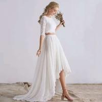2 In 1 Half Lace Sleeve Vestidos De Novia Robe Mariee Beach Two Piece Bohemian Wedding Dresses 2019 White High Low Bridal Gown