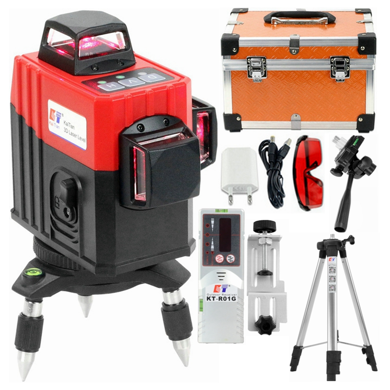 Kaitian Laser Level Tripod Self-Leveling Profissional 3D 12Lines 360 Vertical&Horizontal Super Powerful Red Line Lasers Receiver
