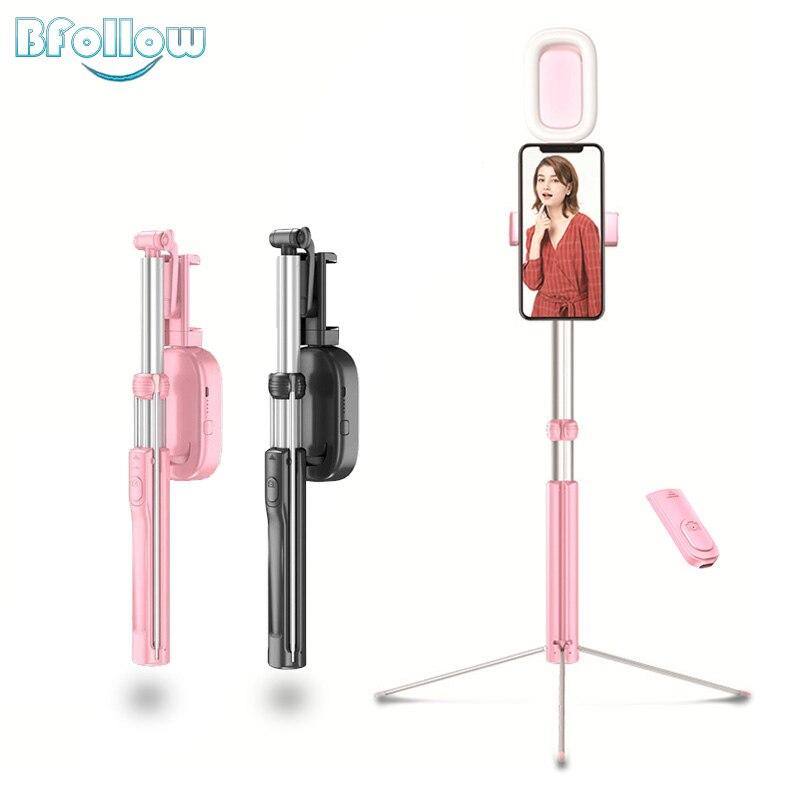 BFOLLOW Füllen Licht Drahtlose Bluetooth Selfie Stick für iPhone Xiaomi Stativ Faltbare Einbeinstativ Handheld A17D Tiktok Youtube Video