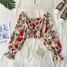 Vintage square collar Slim floral print T-Shirt Women elastic chiffon Top