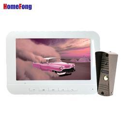 Homefong 7 Inch Bedraad Video-Intercom Deurbel Met Camera Wit Unlock Deurtelefoon Intercom Systeem Dag Nachtzicht IP65