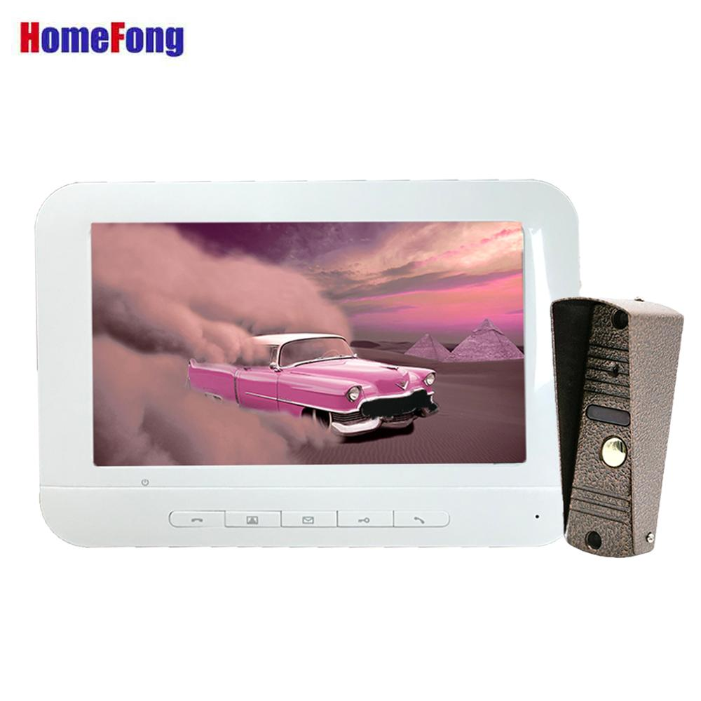 Homefong  7 Inch Wired Video Intercom Doorbell  With Camera White Unlock  Door Phone Intercom System Day Night Vision IP65