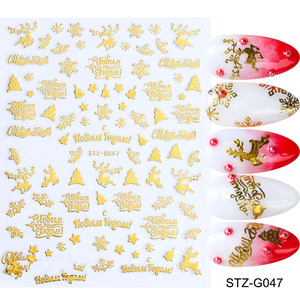 Image 4 - 3D Nail Decals Gold Red Christmas Nail Art Stickers Snowflakes Lettering Adhesive Charms Slider Design Decorations TRSTZG041 049
