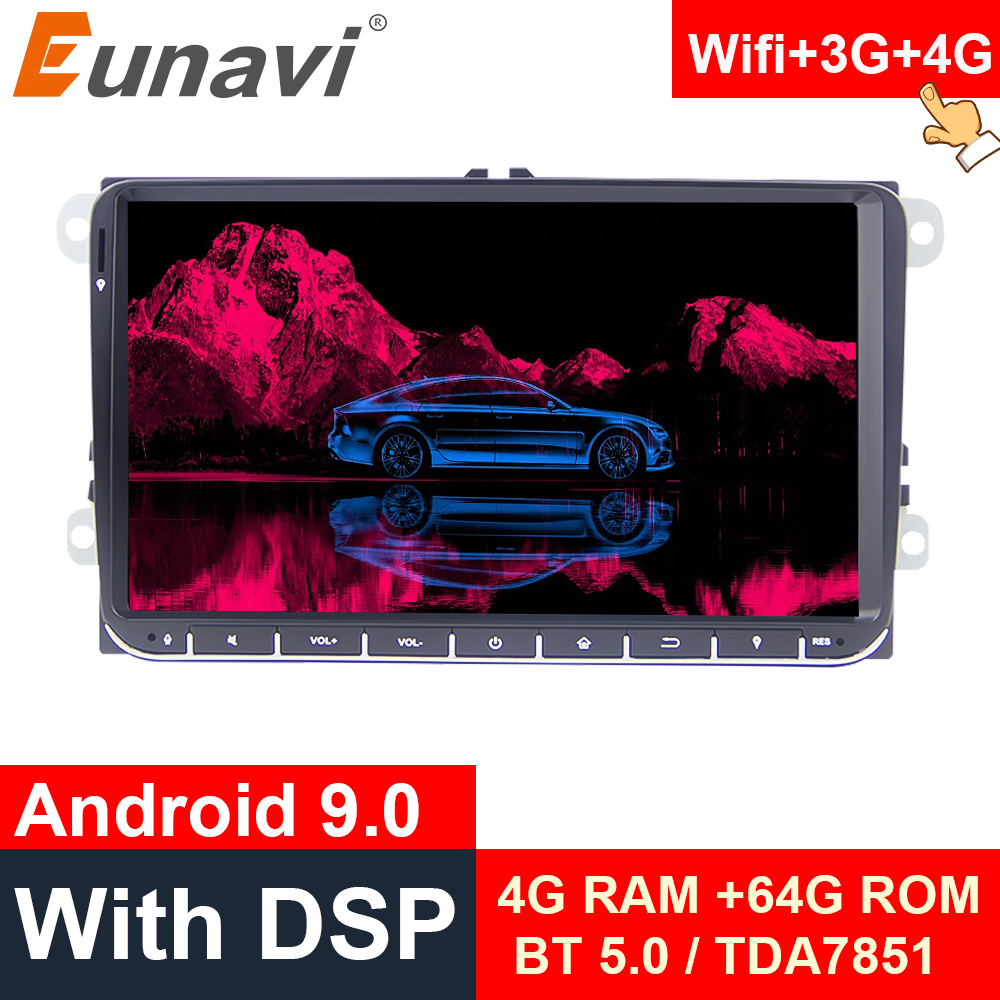 Eunavi 2 din Android 9.0 Car Radio GPS for VW <font><b>Passat</b></font> <font><b>B6</b></font> CC Polo GOLF 5 6 Touran Jetta Tiguan Magotan Seat 9'' screen with button image