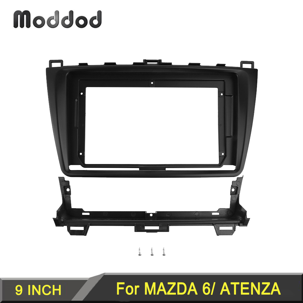 Double <font><b>Din</b></font> Radio Fascias Stereo Panel for <font><b>Mazda</b></font> <font><b>6</b></font> Atenza 2009-2013 Dashboard Installation Surround Trim Kit Frame Adaptor Bezel image