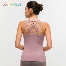 купить Colorvalue Sexy Cross Back Sport Fitness Tank Tops Women Cotton Feel Nylon Workout Yoga Vest Slim Fit Plain Sleeveless Shirts дешево