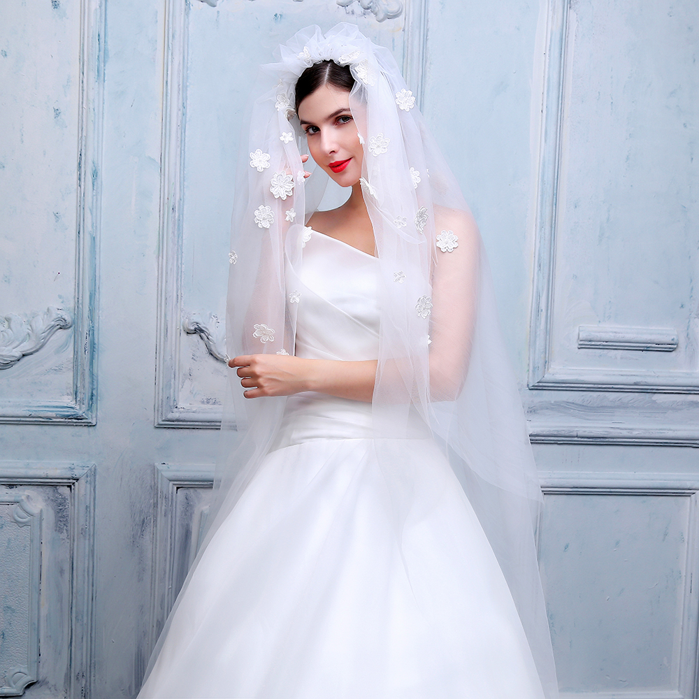 2019 Woman Two-layer Veils Soft Tulle 3d Lace Flowers Lvory With Cut Edge Bridal Veil Wedding Dress Accessories With Hair Band
