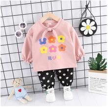 2019 Autumn Baby Infant Clothes Suits Toddler Girls Clothing Sets Flower Coat  Dot Pants Kids Children Costume Suit стоимость