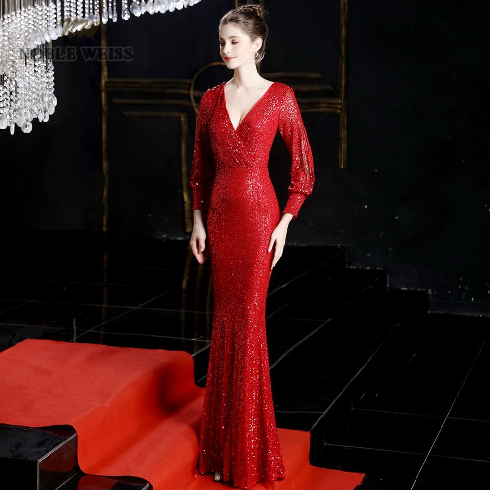 Prom Dresses 2019 Red Mermaid Elastic Party Dress Sexy Vestidos De Gala V-neck Long Prom Gown With Long Sleeves