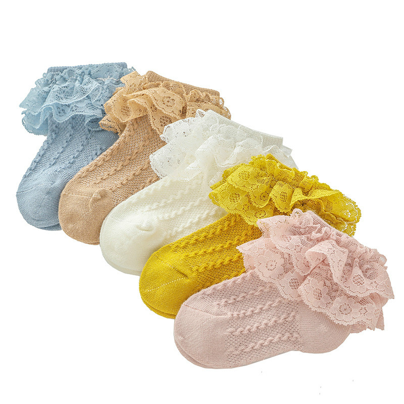 Kongqiabona-UK Girls Cotton Socks Childrens Lace Socks Lace Flower Socks Ankle Sock for Newborn Infant Toddlers Kids
