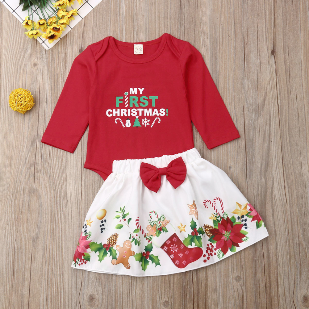 My 1st Christmas Baby Girl Outfit Long Sleeve Romper Top Bowknot Tutu Skirts Dress Headbands Clothes Set