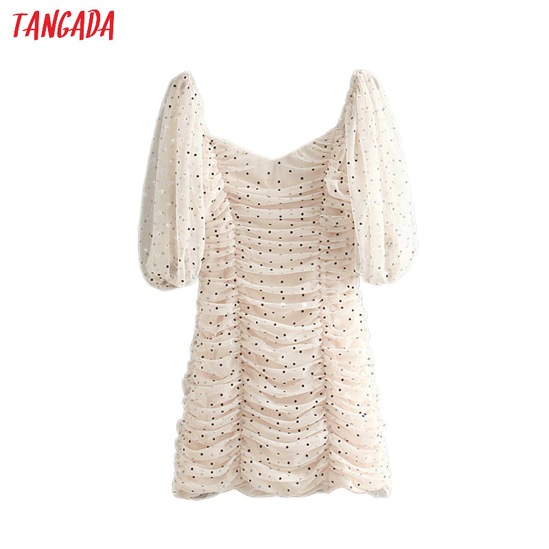 Tangada Women Sexy Dot Print Pencil Dress Short Puff Sleeve Back Zipper Female Korean Style Pleated Ladies Party Dresses CE161