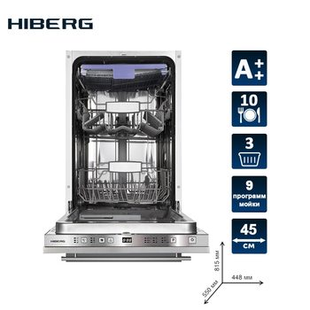 Built-in dishwasher HIBERG I49 1032 10 sets 3 baskets Aquastop 6 programs delay up to 12 hours class A + Drying A