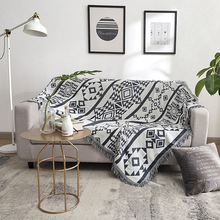 Cotton Soft Sofa Cover Blanket Geometric Gray Pastoral Floral Weaving Decorative Towels For Bed