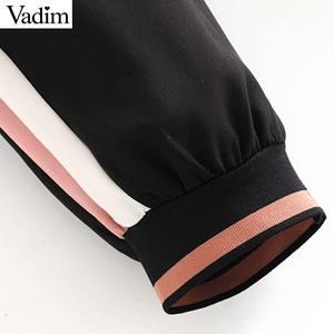 Image 5 - Vadim women elegant casual pants patchwork side stripe elastic waist pockets female sweet fashion trousers pantalones KB152