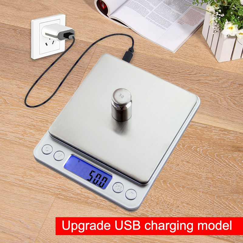 USB Powered Digital Kitchen Scale Balance 3kg 0.1g Multifunction Food Scale For Baking Cooking Household Weigh Electronic Scale