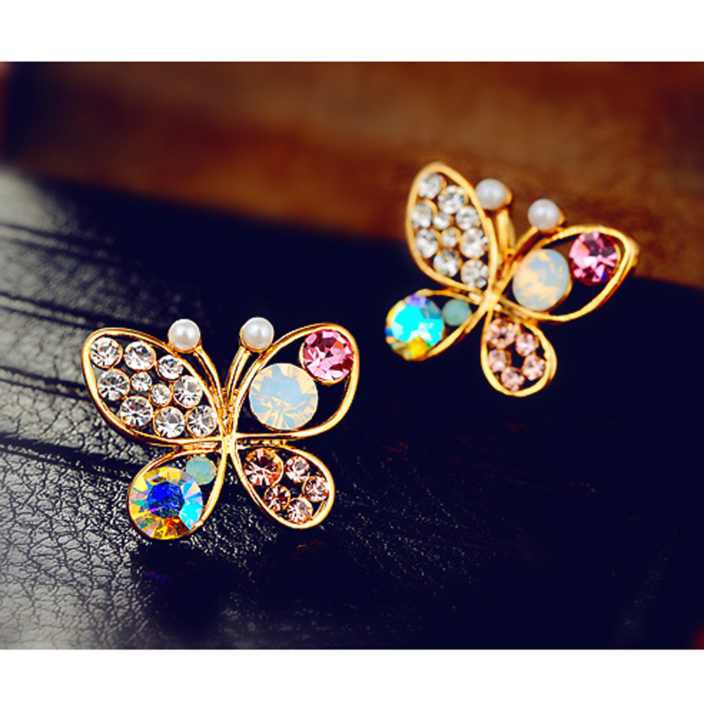 Colorful Earrings Simulated-Pearl-Butterfly Cystal Fashion Women Luxury Bright No Hollow