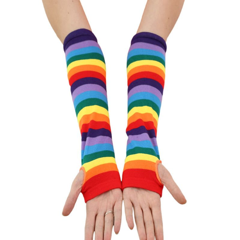 Knitted Over Elbow Long Arm Warmers US Flag Rainbow Stripes Patchwork Fingerless Gloves With Thumb Hole Party Costume