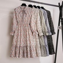 Retro Ruffle Floral Dress Women Chic Flare Sleeve Bowtie Print Chiffon Dress Elegant Autumn Spring S-XL Kawaii Black Robe Femme bowtie chiffon long sleeve dress women korean vintage black print sweet ladies dresses autumn kawaii midi robe femme 2019 s xl