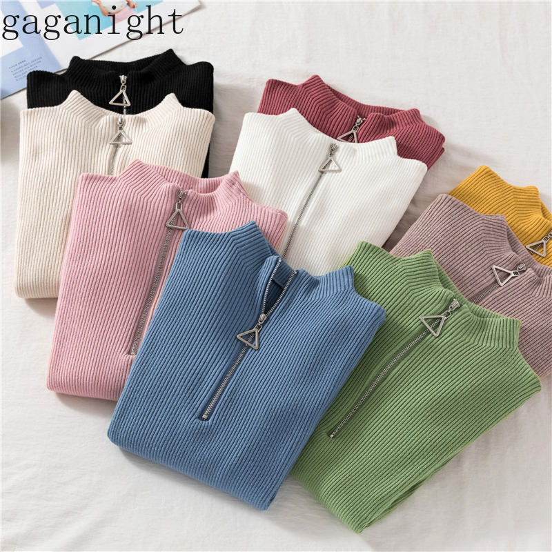 Gaganight Casual Sweater Women Autumn Winter Basic Zipper Pullover Solid Soft Knit Slim Pullovers Chic Long Sleeve Warm Jumper