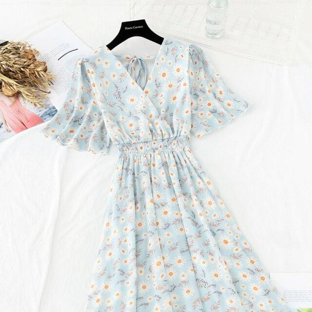 Summer Fairy Dress Women French Style Vintage Retro Chiffon Dress Short sleeve Casual Elegant Floral Print Dress Women 2021 New 3