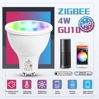 GLEDOPTO ZigBee 3.0 Smart GU10 Spotlight 4W Pro RGBCCT lampadina a Led angolo del fascio di 25 gradi lavora con Alexa Echo Plus App/Voice/RF