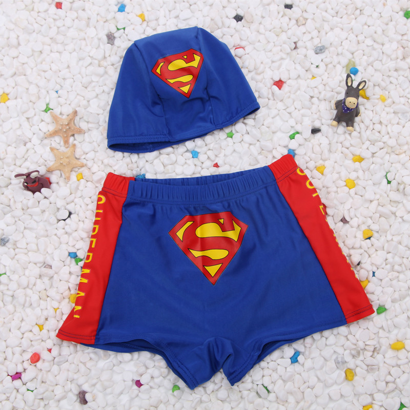 2019 New Style Small Superman Pattern BOY'S Swimsuit Children Leveling Feet Swimming Trunks Delivery Swim Cap