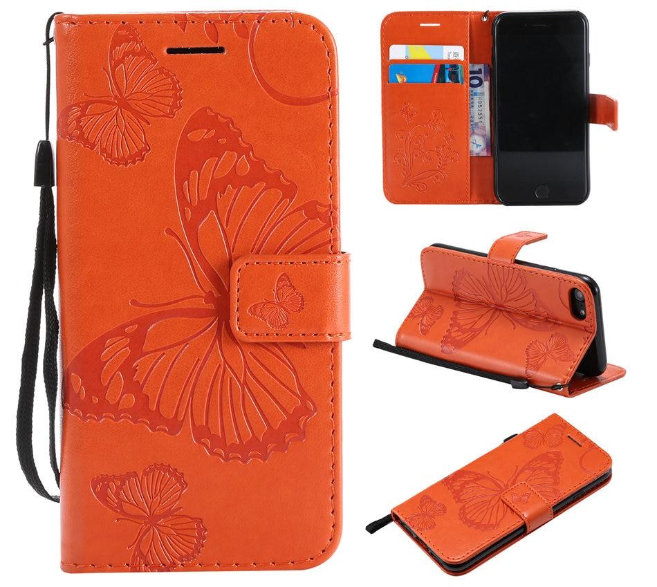 Card Slot Coque Flip Leather Case For LG K10 K12 Plus K20 K30 2019 K40 K40S K50 Q60 Big Butterfly Embossing Flip Phone Bags E06F