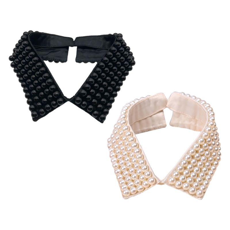 Women Handmade Beading Faux Pearls Layers Bib Lapel Fake Collar Necklace Choker