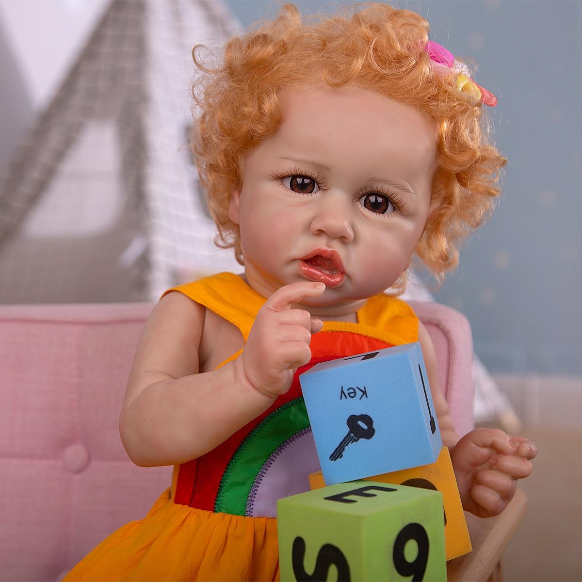 23 zoll Full Silikon Reborn Baby Kleinkind Puppen 3D-Painting Haut Schöne Neugeborenen Bebe Puppen Real Touch Bad Spielzeug Für Kinder geschenk