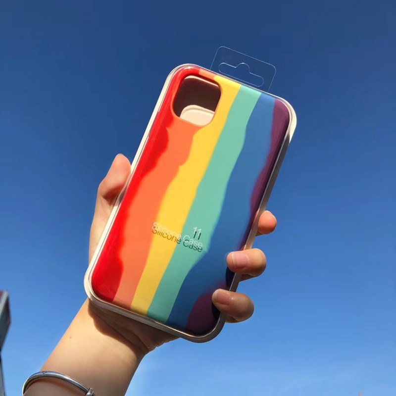 Art Rainbow Liquid Silicone Phone Case for iPhone11 Pro MAX XS MAX XR Gel Rubber Protection Cover for iPhone 87Plus SE2020 5.0