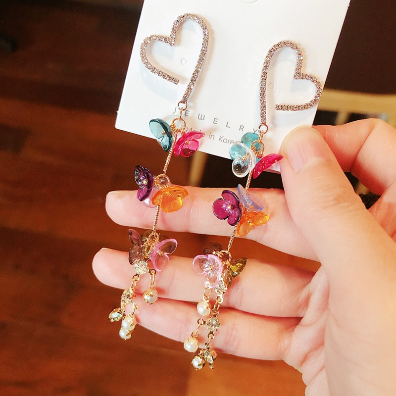 MENGJIQIAO 2020 New Fashion Rhinestone Heart Long Tassel Dangle Earrings Elegant Colorful Acrylic Flower Boucle d'oreille Femme