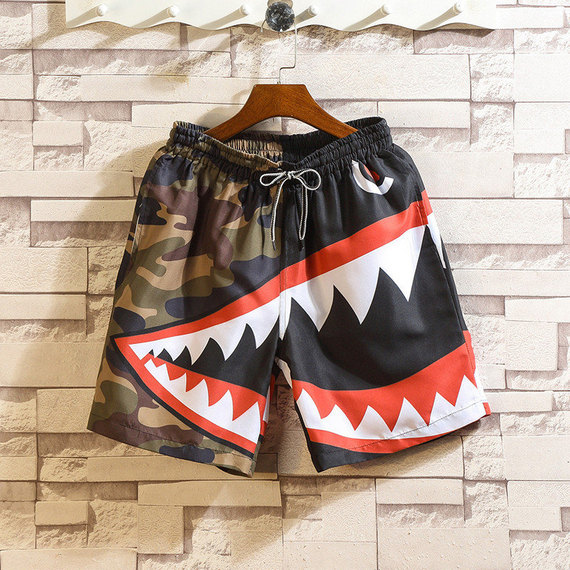 Summer Casual Shorts Men Quick Dry Shark Printed Elastic Waist Hawaiian Harajuku Sports Beach Shorts Streetwear Harajuku Shorts