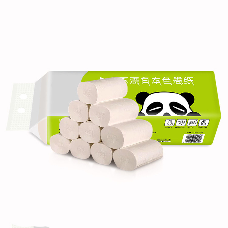 10 Rolls Natural Bamboo Toilet Paper 4Ply Bulk Tissue Bathroom Toilet Soft Skin-friendly Toilet Tissue