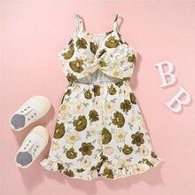 Girls Floral Print/Solid Color Elastic Waist Sling Jumpsuit,Baby Sleeveless O-neck Short Romper