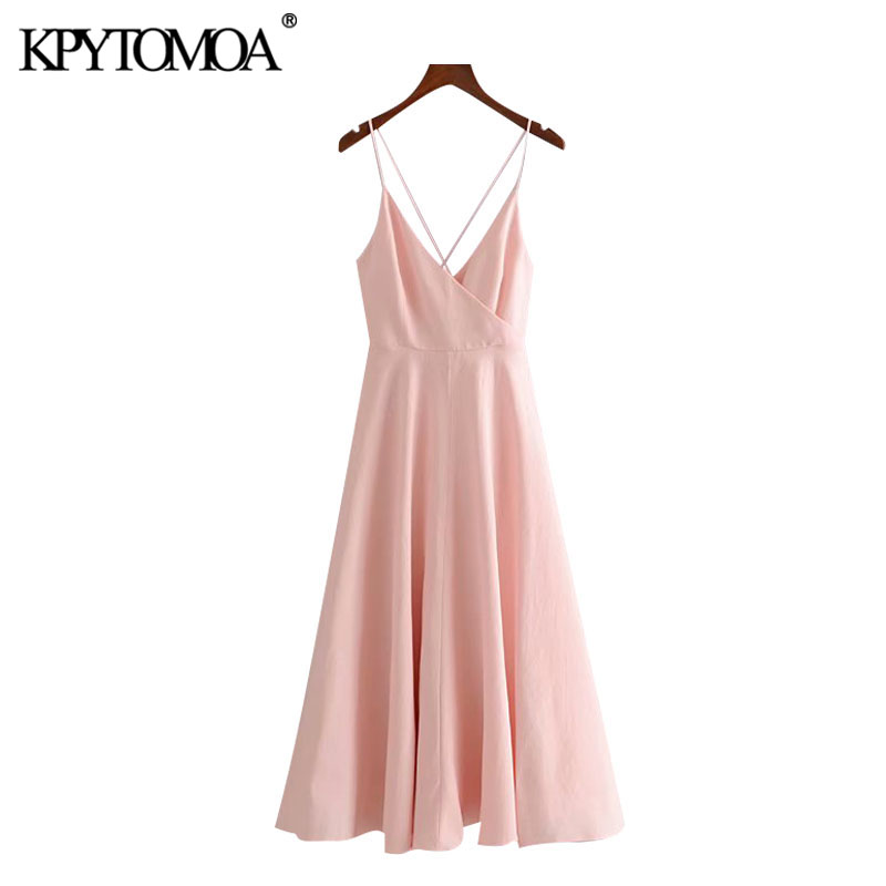 KPYTOMOA Women 2020 Chic Fashion Backless Bow Tied Midi Dress Vintage V Neck Cross Thin Straps Female Dresses Vestidos Mujer