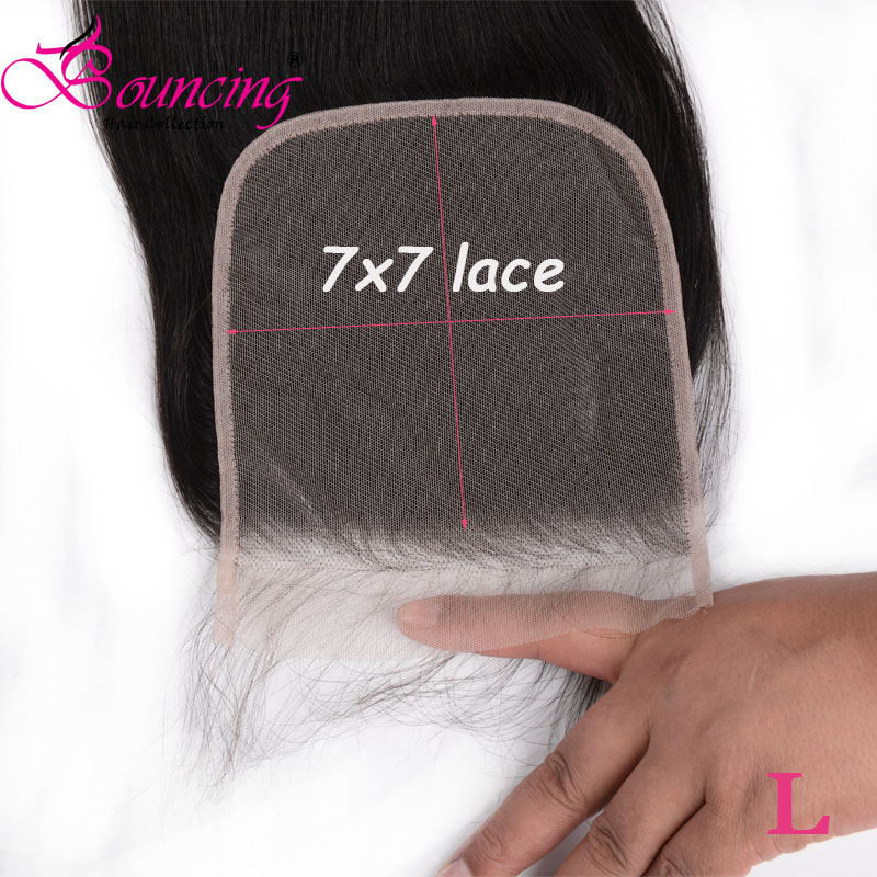 Bouncing Straight 7x7 Lace Closure Brazilian Remy Human Hair Extension 8-26 Inch Closure Free Part Low Ratio Light Brown Lace