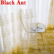 Voile Tulle Curtain Window-Screen Geometry Embroidery Sheer Bedroom Nordic for Balcony