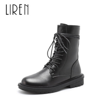 Liren 2019 Spring/Autumn PU Women Fashion Cool Casual Ankle Lace-up Boots Round Toe Flat Heels Comfortable Women Fashion Boots liren 2019 spring autumn fashion casual women boots lace up round toe flat heels ankle flat med high heels comfortable boots