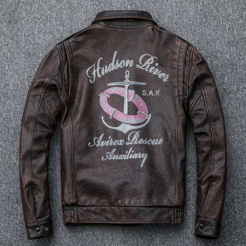 Vintage Genuine Leather Jacket Men Real Cow Leather Flight Jacket Spring Autumn Coat For Men Casual Cowhide Jackets KJ2299