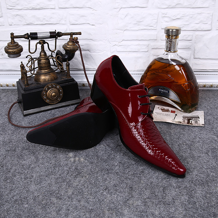 Chaussures Hommes Italian Men Shoes High Heels Python Skin Pointy Oxford Shoes For Men Dressing Metallic Suit Luxury Shoes