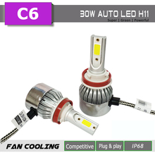 FUXUAN 2PCS H7 H3 LED H1 H9 H4 H13 Bulb 60W Headlights Auto Lamp With H11 car Light 6000K White 12V Automobile lamp C6