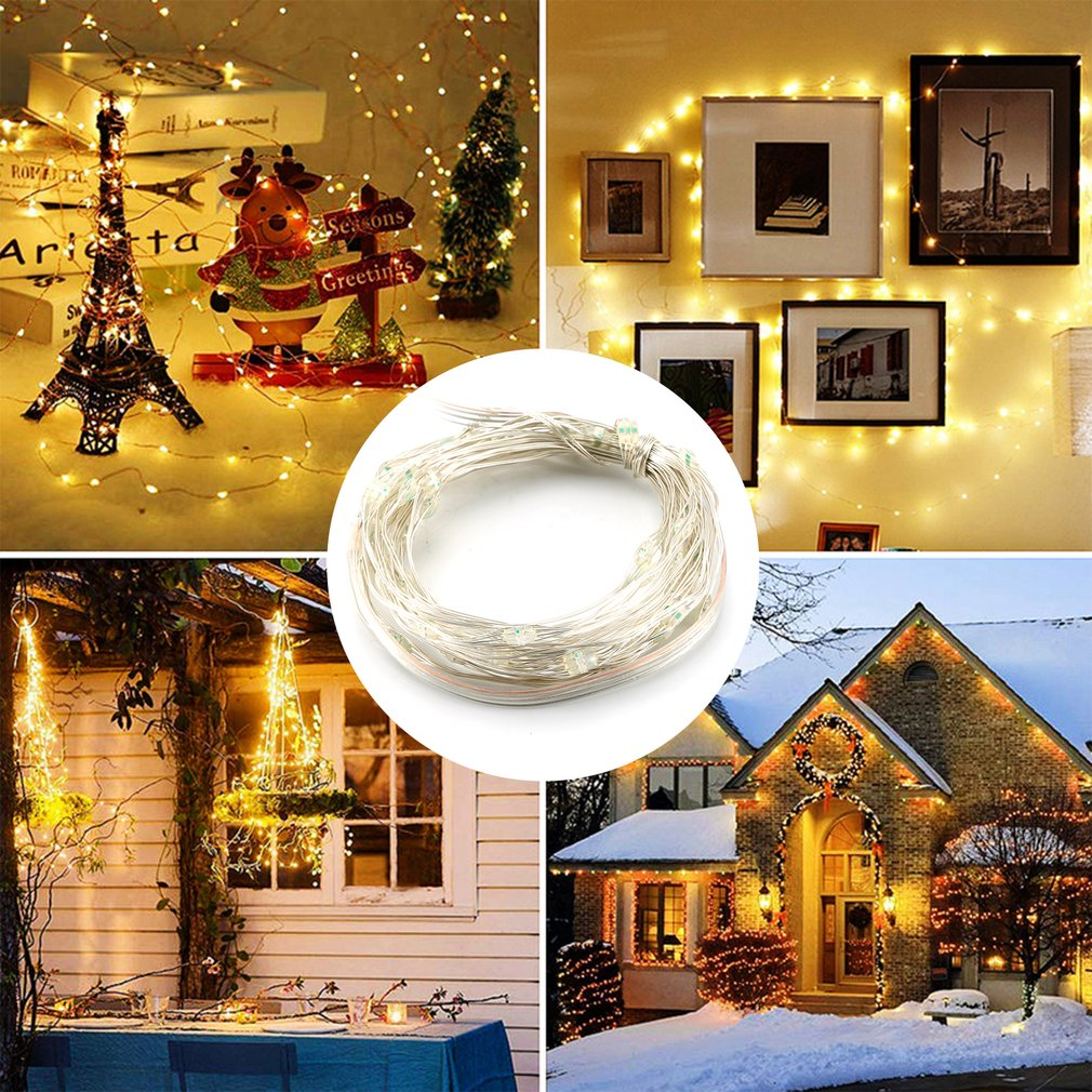 Led Light String Four Lines Remote Control 5M 50Led Copper Wire Lamp Rgb Decoration For Christmas Wedding Holiday Four Lines