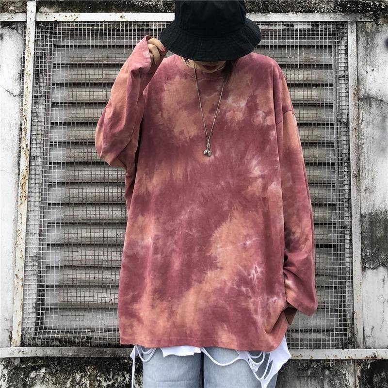 Casual <font><b>Oversized</b></font> Tee <font><b>Shirts</b></font> Cool <font><b>Korean</b></font> <font><b>Style</b></font> Tops Tee Male Tie Dyeing Hip Hop T-<font><b>shirt</b></font> <font><b>Men</b></font> Women Autumn Round Neck <font><b>Men's</b></font> Tshirts image