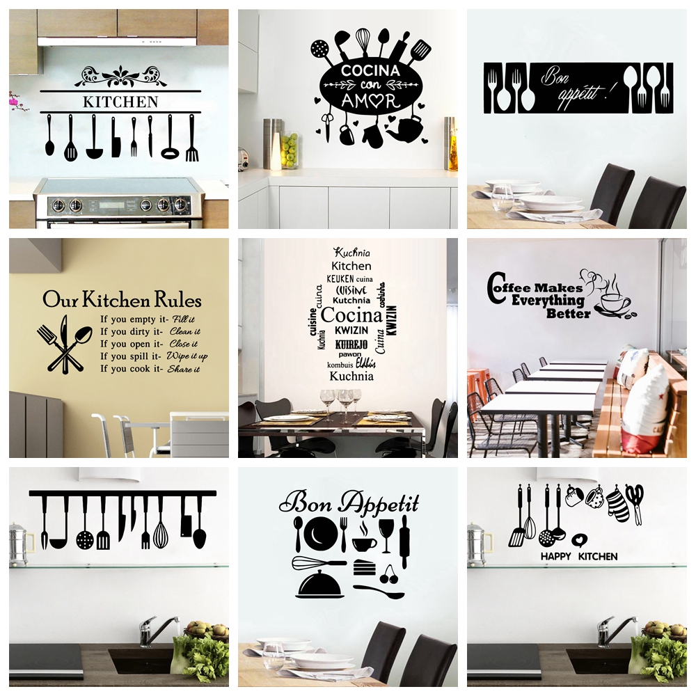 New Design Kitchen Ware Waterproof Wall Stickers For Kitchen Decor Removable Wall Art Decal Kitchen Room Text Vinyl Wallpaper